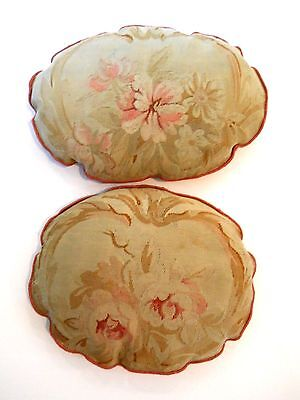 AUBUSSON ANTIQUE PILLOWS. Finest Floral Pattern 18th C.