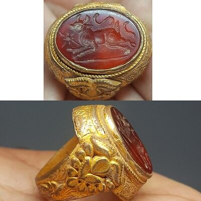 Agate Ancient Stone intaglio Gold Layered Silver Ring # v