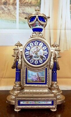 Antique 19thC French Japy Freres mantel clock -beautiful Sevres pocelain