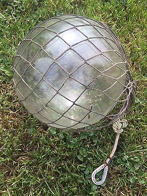 Authentic Collectible Large Clear Glass Japanese Net Buoy With Netting