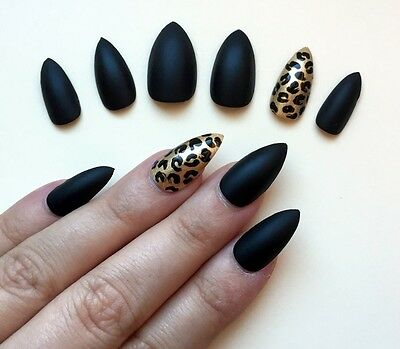 Hand Painted False Nails STILETTO (Or ANY SHAPE) Matte Black Gold Leopard Print