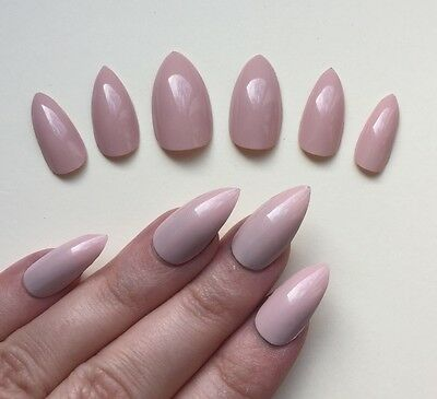 Hand Painted False Nails STILETTO (Or ANY SHAPE) Gel Gloss Pastel Pink Nude. UK