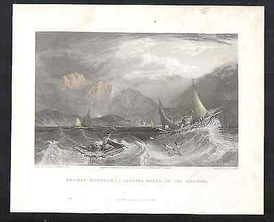 Antique Engraving-Bombay Harbour: Fishing Boats in the Monsoon-1845