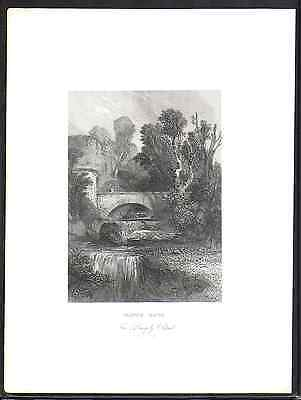 Antique engraving-Warwick Castle eng. by J C Bentley after G Cattermole-1836