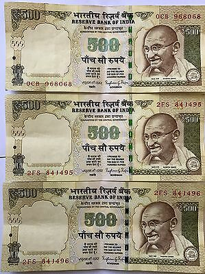 UNC 500 Rupees India Demonetized Currency 2014 Bank Notes. Crisp Notes Gandhi