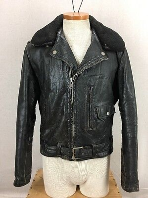 Vintage 60s Sears Oakbrook Black Leather Belted D-Pocket Motorcycle Jacket Sz 42