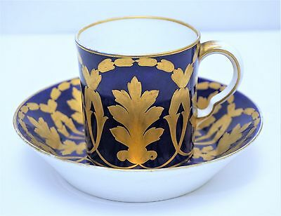 18th c Antique French Sevres Porcelain Cup & Saucer Cobalt Blue w Gold Wreaths