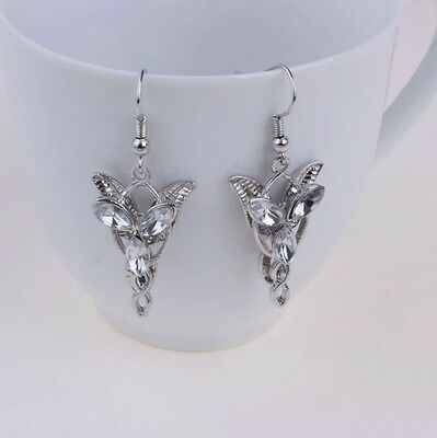 Silver toned Lord of the Rings inspired Drop earrings clear crystals pierced