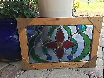 Lovely Leaded Stain Glass Window reframed flower with pop colors