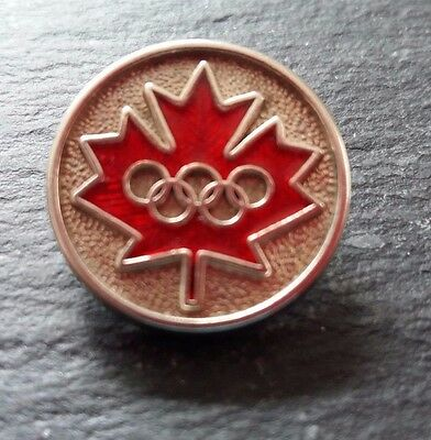 Canada - Olympics Montreal - Maple Leaf  - Chrome and Enamel Button 1976