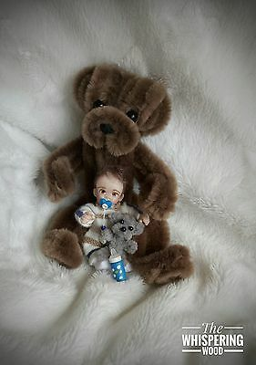 Ooak Dollhouse Baby Boy Teddy Bear Handmade Doll Jointed Clay Sculpt Miniature