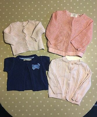 Bundle of 4 girls cardigans from M&S, Zara and Mothercare 6-12 months