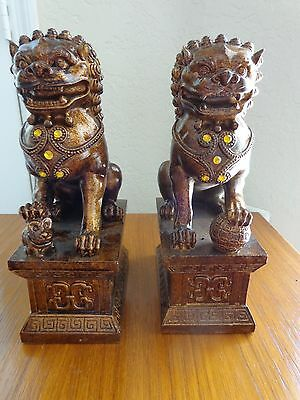 "Large Pair of Ceramic Foo Dogs 10"" Tall"