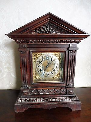 Beautiful Antique Junghans Mantle Clock Ornate Carved Wooden Case, Not Working