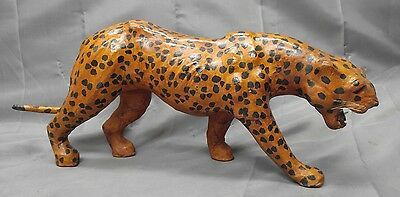 Vintage handmade hand painted leather animal leopard figure