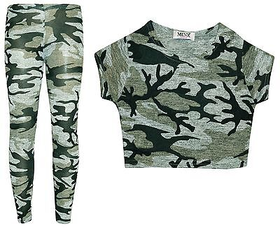 Girls Camouflage 2 Piece Crop Top & Legging Set Outfit Camo Clothes 7-13 Years
