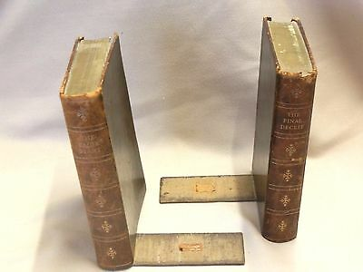 Very Unusual Vintage Leather Bound Bookends
