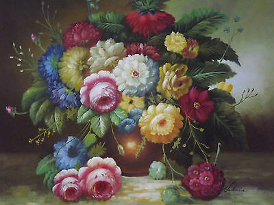 still life flowers in vase roses large oil painting canvas classic original art