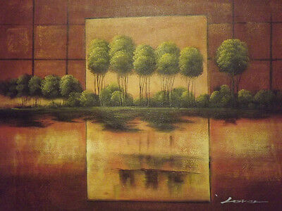 abstract green brown forest trees large oil painting canvas landscape modern