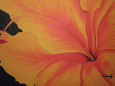 abstract orange flower minimal large oil painting canvas modern contemporary