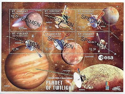 St Vincent Space & Astronomy mini sheet Specimen overprint UM (MNH)