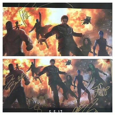 """""""TWO"""" SDCC 2016 Marvels Guardians of the Galaxy Vol 2 Cast Signed Posters"""