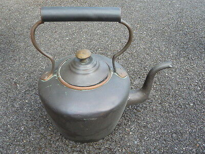 ANTIQUE EARLY 19th CENTURY VICTORIAN COPPER KITCHEN KETTLE DOVETAIL SEAMS