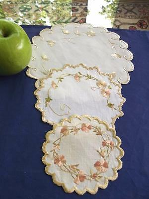 Lot 3 Antique FAB Society Silk Embroidered Flowers Round Linen Various Doilies