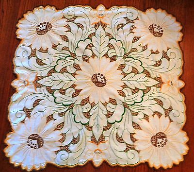 """Vintage Hand Embroidered Table Topper/ Tablecloth Crocheted Edge 31"""" x 33"""""""