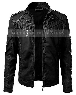 Men's Vintage Motorcycle Black Slim Fit Biker Leather Jacket