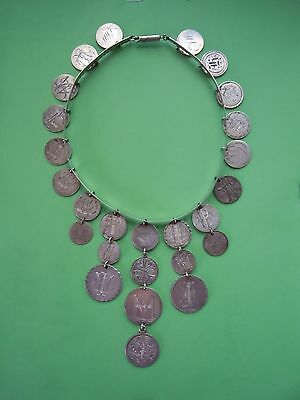 Love Token Bangle Necklace W/ 26 Engraved Coins Including 1875 Twenty Cent Piece
