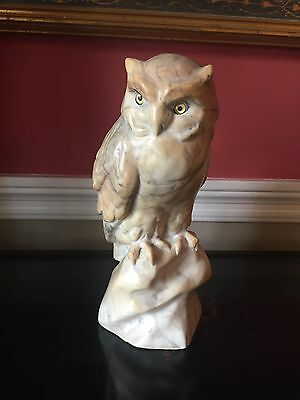 Antique Marble Owl Sculpture By Listed Artist Schmidt-Felling