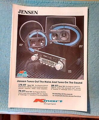 1984 Kmart Original Print Ad JENSEN, PANASONIC & AUDIOVOX Car Stereos & Speakers