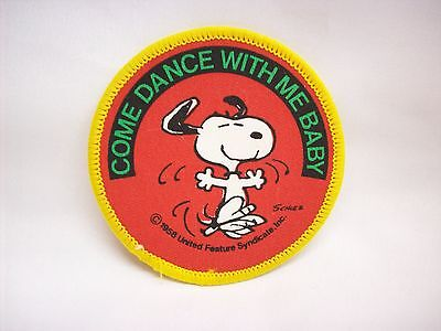"""Snoopy Peanuts embroidered patch #9, """"Come dance with me baby"""""""