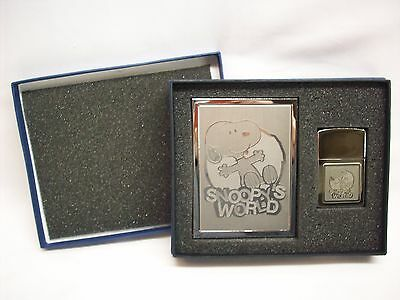 Snoopy Peanuts cigarette case & lighter set, Snoopy's World, NEW in box