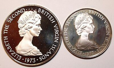 1973 British Virgin Island 50 Cent & 20 Cents Proofs.       # BWITMPO01