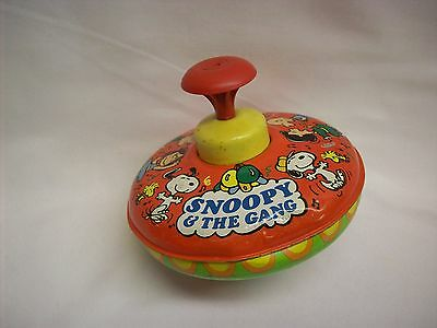 """Snoopy Peanuts Vintage metal spin top toy, """"Snoopy & the Gang"""", Ohio Arts"""