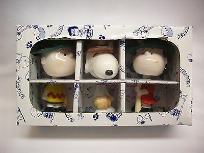 Snoopy Peanuts Charlie Brown Lucy, 3 ceramic bobble heads, Sun Hing, NEW w/box