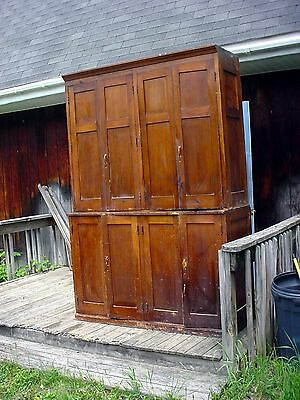 "RARE circa 1900's  antique  stepback CUPBOARD  CABINET 93""  x 63"" wide pine"