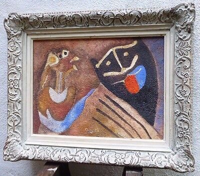 Vintage ABSTRACT MODERNIST OIL PAINTING MID CENTURY MODERN Signed Toledo
