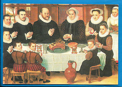 """Postcard - Anthonius Claeissins """"A Family Saying Grace before the Meal"""""""