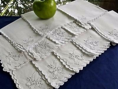 "Lot 12 Vintage White Linen Madeira Embroidered Baskets 12"" Tea Cocktail Napkins"