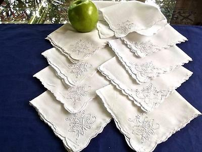 "9 Vintage White Linen Madeira Embroidered Butterflies 11"" Tea Cocktail Napkins"