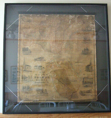 Antique Framed Palmer MA 1854 Scroll Wall Map of the Town of Palmer Hampden Co