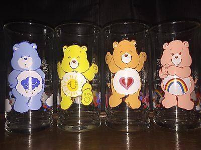 Vintage Care Bear Glasses - Pizza Hut Collection, Set of 4