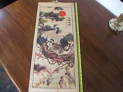 Japanese Hanging Scroll with two cranes in a bonsia / pine tree, rising sun