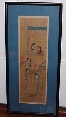 Antique Chinese Maidens & Wiseman Original Painting Framed