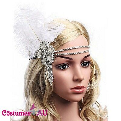 1920s Headband Vintage Bridal Gatsby 20s Flapper Feather Gangster Headpiece 20's