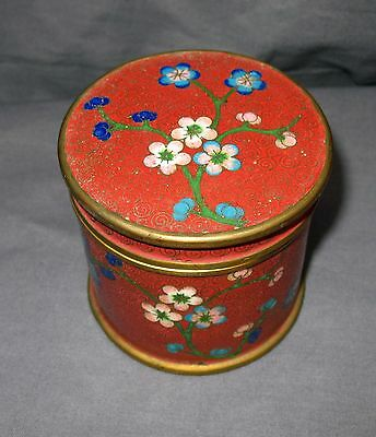 Vintage Lidded Round Cloisonne Box Cannister Red with Floral Design