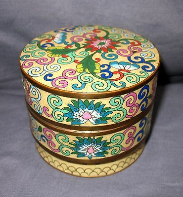 Vintage Lidded Round Cloisonne Box Stacking Cannister Yellow with Floral Design
